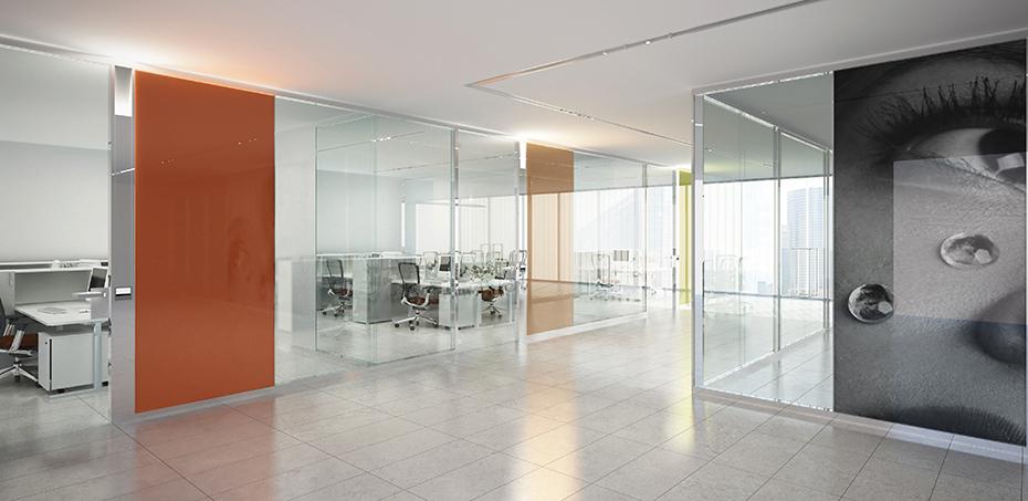 Parete divisoria mobile in vetro per ufficio esedra di for Pareti mobili da ufficio