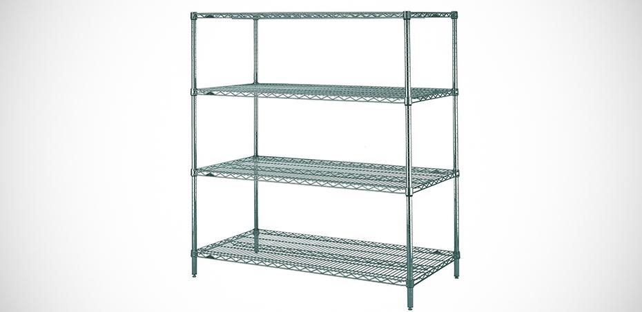 Sistema di scaffalatura cromata e inox in filo di metallo for Scaffali per ufficio acciaio